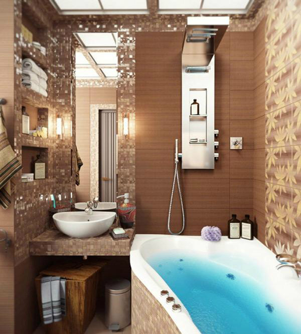 brown small bathroom design idea - Design Ideas For Small Bathrooms
