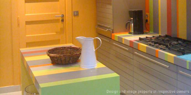 colorful corian Kitchen Backsplash Idea