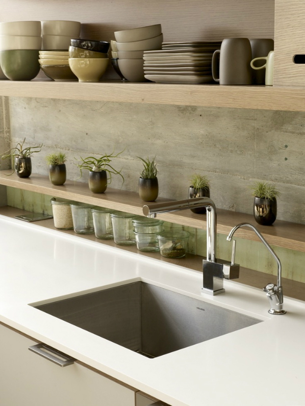 concrete Kitchen Backsplash Idea