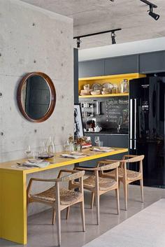 contemporary concrete black yellow kitchen design