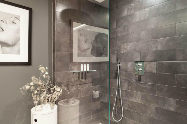 gray contemporary shower with art