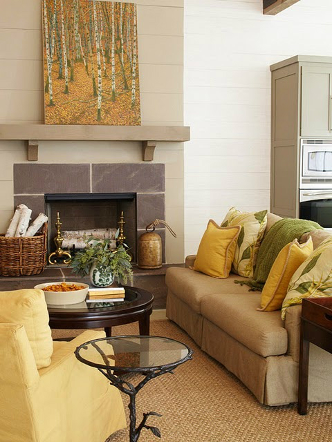 fall yellow green living room