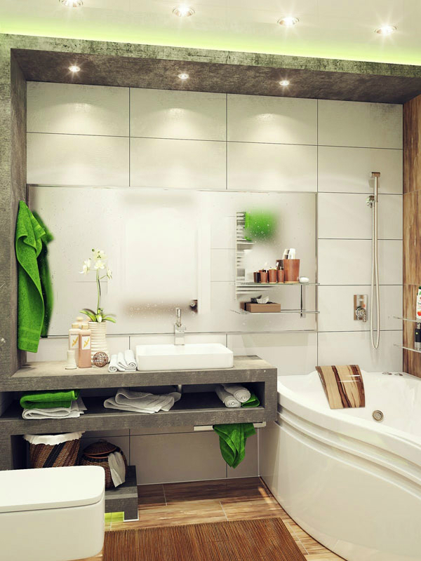 gray white small bathroom design idea