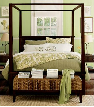 Green celery bedroom accent wall