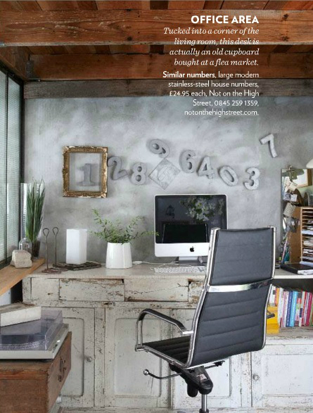 home office decorated with salvaged finds