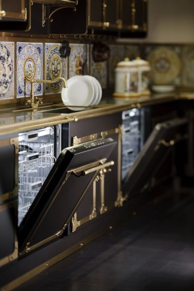 kitchen design with brass fausets
