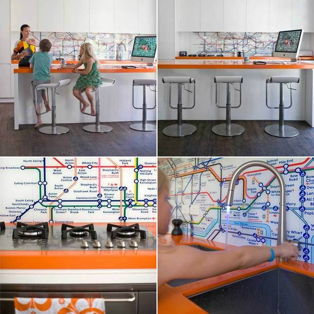 map Kitchen Backsplash Idea