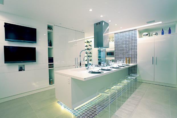 modern white blue kitchen design
