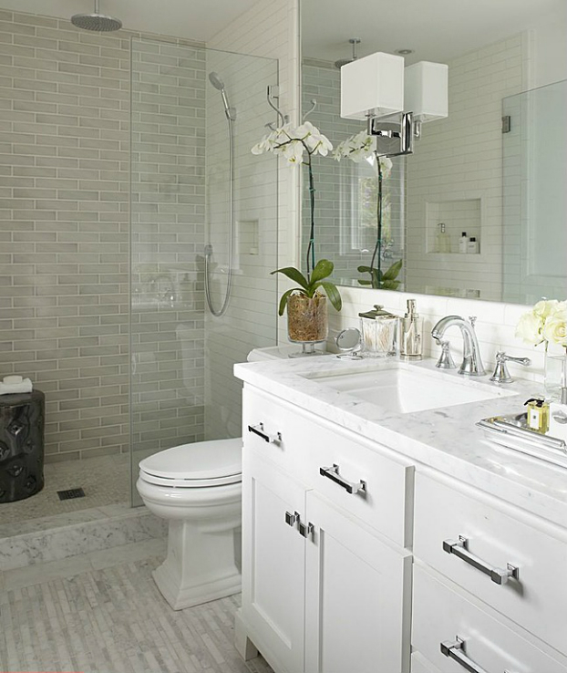 modern white small bathroom design idea - Bathroom Design Ideas