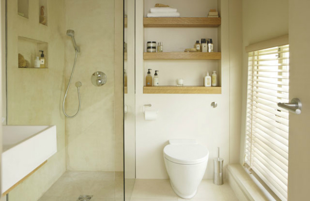 neutral small bathroom design idea