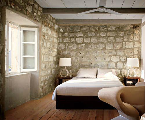 contemporary rustic stone bedroom