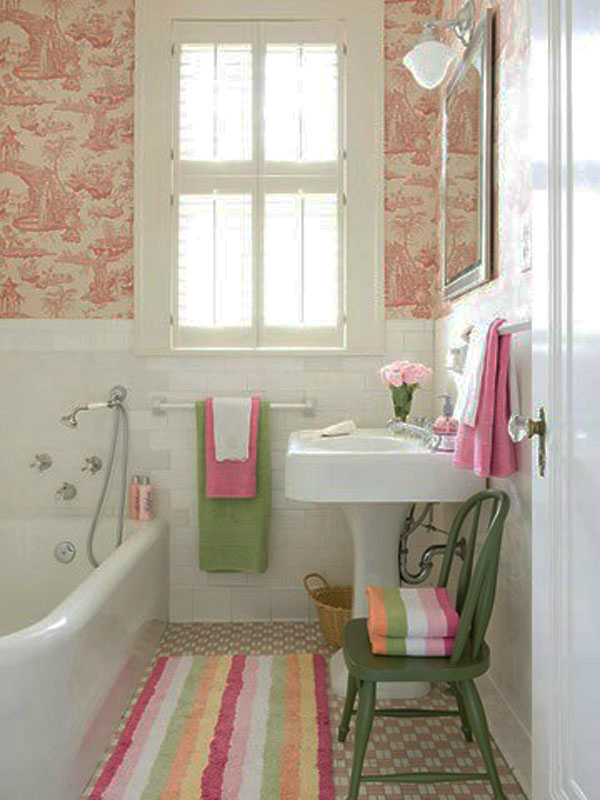 pink green small bathroom design idea