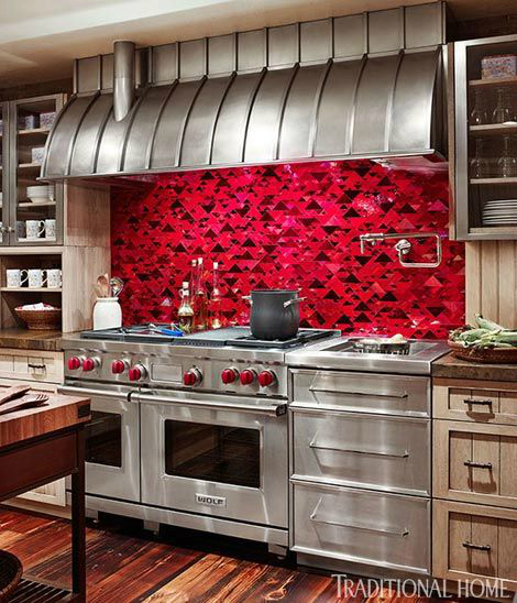 40 awesome kitchen backsplash ideas decoholic for Red and black kitchen backsplash