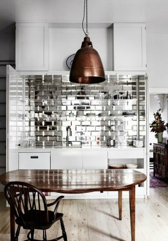 shiny silver Kitchen Backsplash Idea