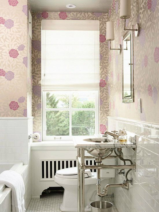 white pink small bathroom design idea