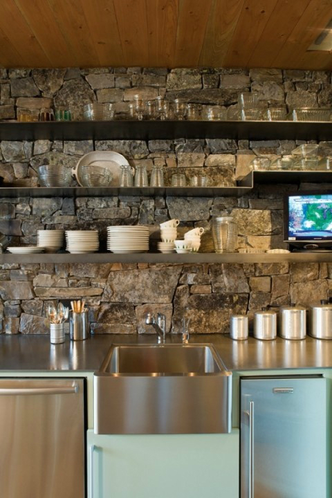 stone Kitchen Backsplash Idea