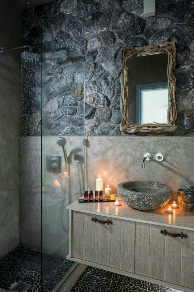 stone small bathroom design idea