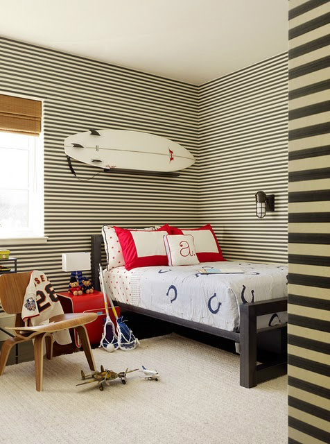 striped wall boys room decorating ideas