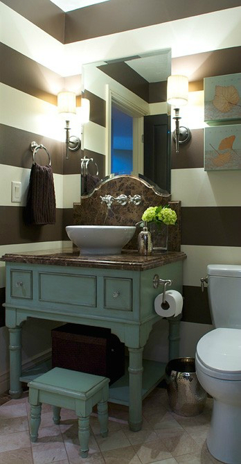 teal brown small bathroom design idea