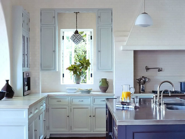 30 kitchen designs with popular trends decoholic - Light blue and white kitchen ...