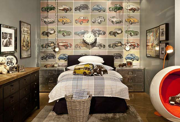 vintage cars themed boys room decorating ideas