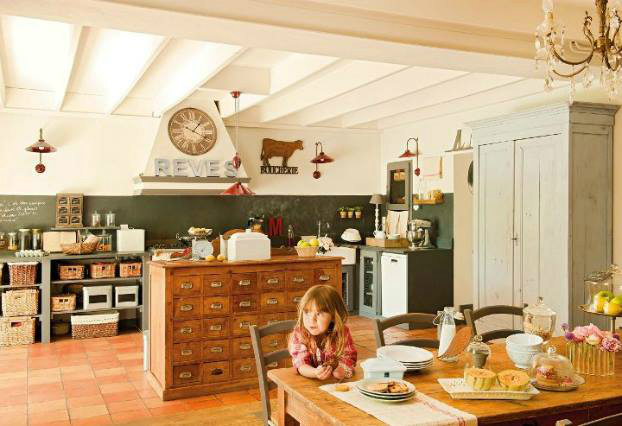 Vintage furniture as kitchen island