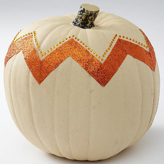 Glittered Chevron Pumpkin