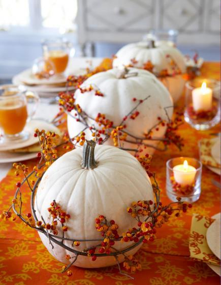orange and white pumpkin centerpiece
