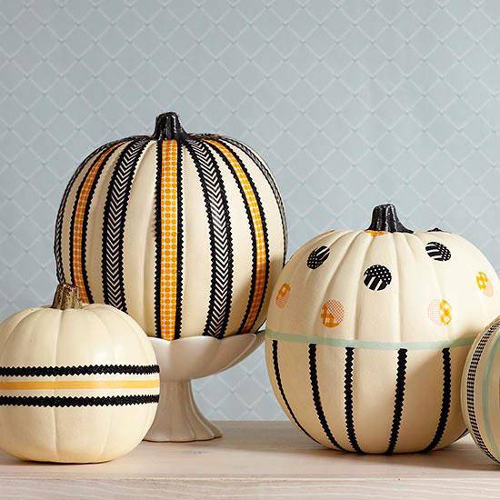 Pretty Tape-and-Ribbon Pumpkins