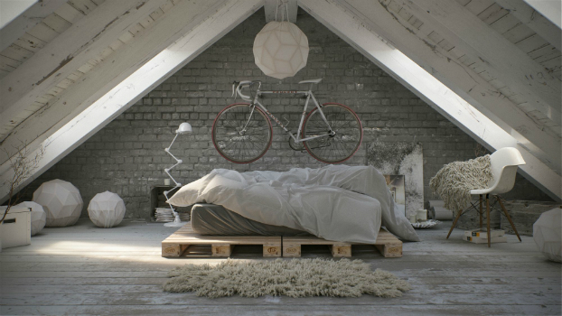 Awesome Atmospheric White Attic Loft 3