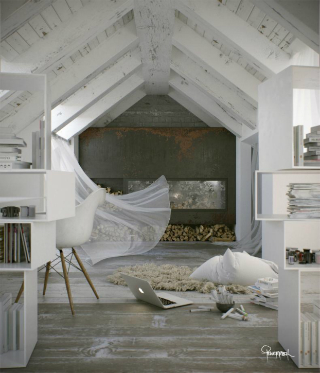 Awesome Atmospheric White Attic Loft 5