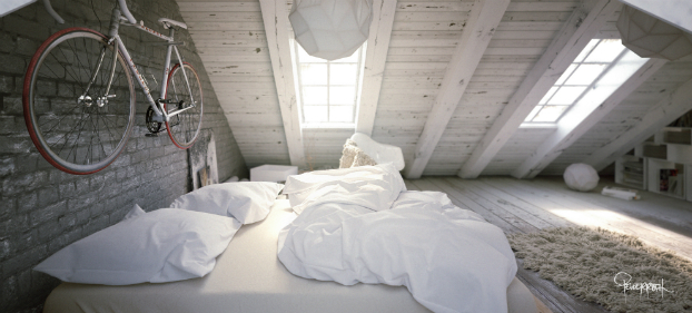 Awesome Atmospheric White Attic Loft 9