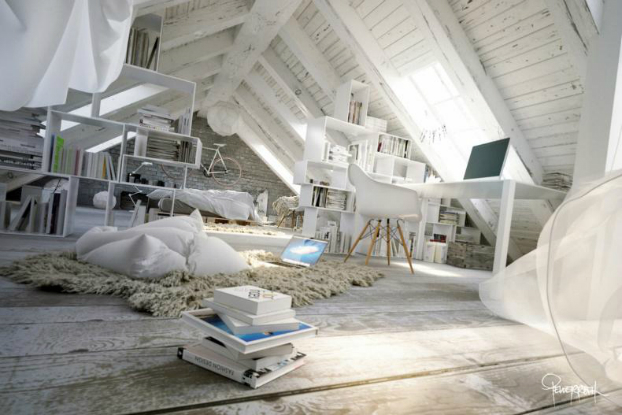 Awesome Atmospheric White Attic Loft