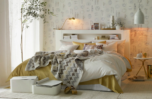 Smart and Elegant Bedroom Decorated with White and Gold - Decoholic