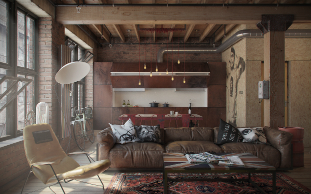 Beautifully designed industrial loft decoholic - Industrial themed interior design ...
