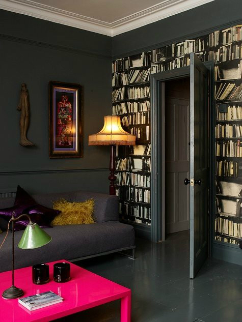 fake bookshelves decorating wallpaper