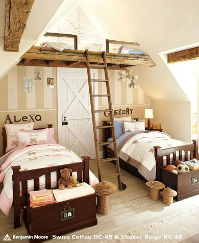 beige bedroom for kids