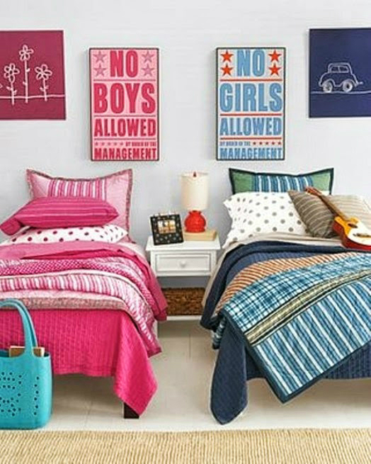 pink and blue beds