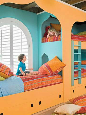 teal blue and orange bedroom for kids
