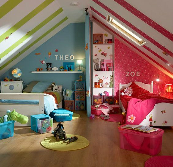 Minimal Shared Kids Room