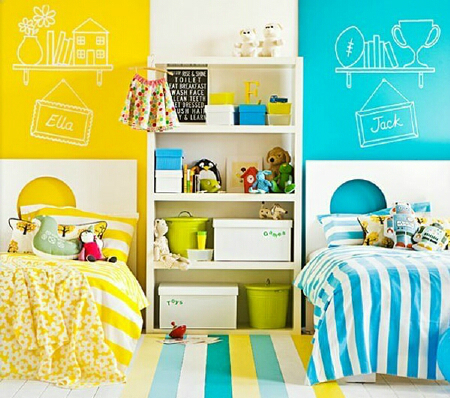 yellow and blue kids room