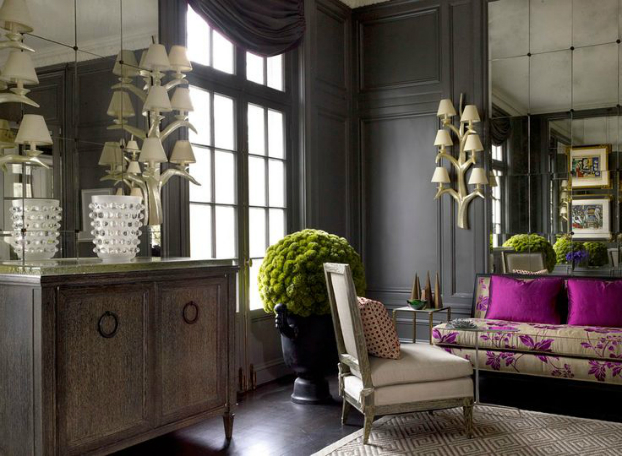 Living room with dark dramatic walls 30 ideas decoholic for Living room ideas dark