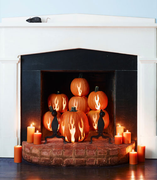 pumpkin fireplace decorating idea