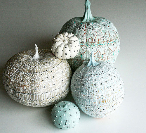 Romantic pastel painted pumpkins