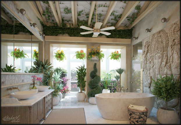 unique bathroom design with plants