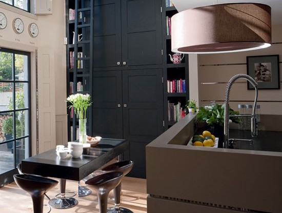 black and taupe painted kitchen by kochrane design