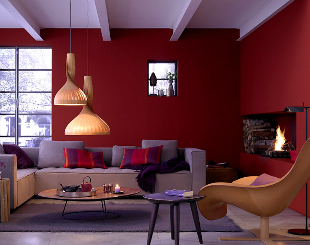 Living room color in purple home decorating ideas Bold house colors