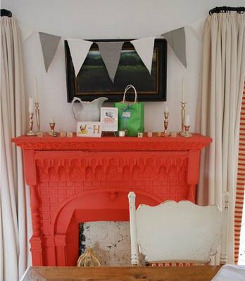 coral Fireplace Color Ideas