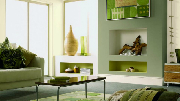 green Fireplace Color Ideas