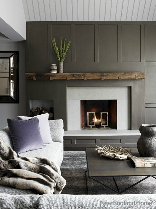 dark brown Fireplace Color Ideas